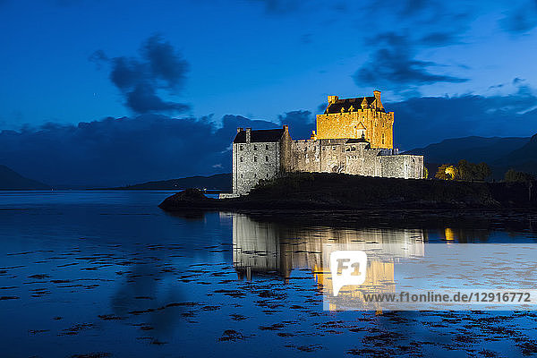 UK  Scotland  Dornie  Loch Duich  Eilean Donan Castle at blue hour