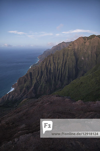 Scenic view of mountains on coastline in Na Pali Coast State Park,  Kauai,  Hawaii Islands,  USA