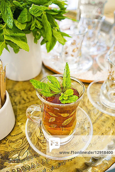 Close-up of glass of traditional tea with mint leaves  Madaba Governorate  Jordan
