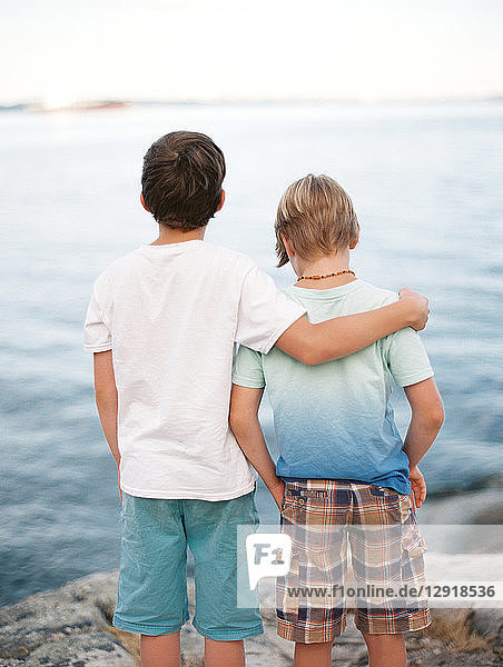 Rear view of two brothers wearing t-shirts and shorts with arm around standing against sea