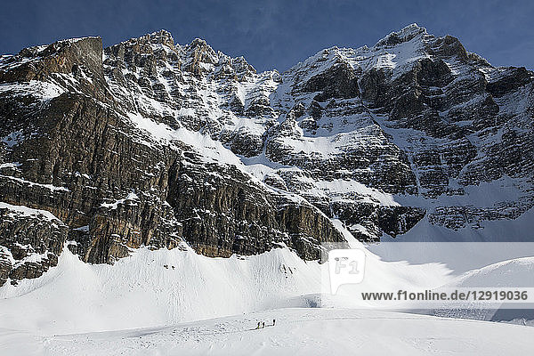 Majestic natural scenery with snow covered mountains at Opabin Plateau in winter  Yoho National Park  Alberta  Canada