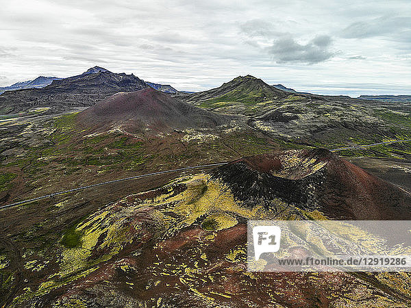 Aerial view of landscape with hills on†Snaefellsnes†Peninsula  Iceland