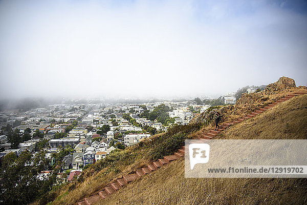 Distant view of woman carrying dog down steps at Tank Hill  San Francisco  California  USA