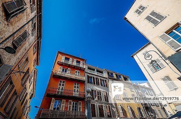 Wide angle view of traditional Provencal architecture in Antibes  Cote d'Azur  Provence  France  Europe