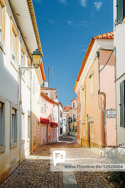 A narrow cobblestone street in the historic centre of Cascais  Portugal  Europe