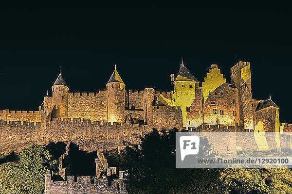 Medieval citadel  Carcassonne  a hilltop town in southern France  UNESCO World Heritage Site  Carcassonne  Languedoc  France  Europe