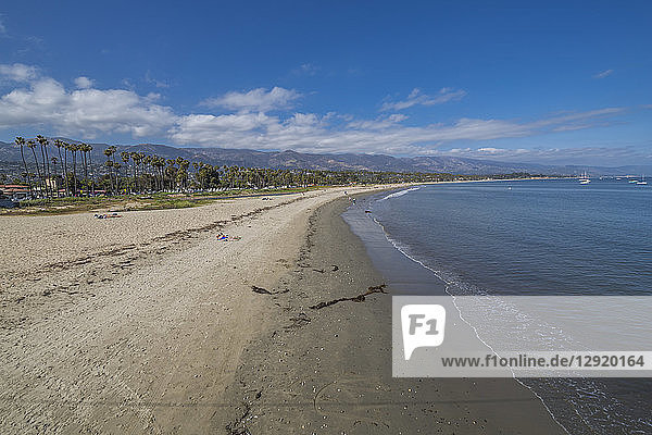View of beach from Stearns Wharf  Santa Barbara  Santa Barbara County  California  United States of America  North America