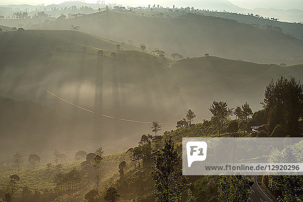 Sunrise moment from Giri's peak  Java  Indonesia  Southeast Asia