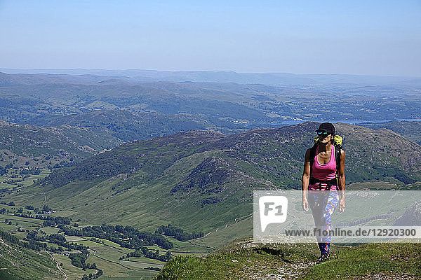 Hiker on a trail above Langdale  Lake District National Park  UNESCO World Heritage Site  Cumbria  England  United Kingdom  Europe