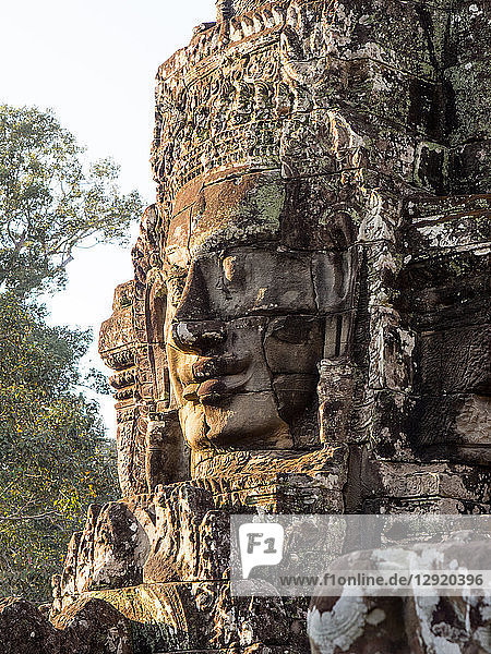 Huge stone face  Bayon Temple  Angkor Wat complex  UNESCO World Heritage Site  near Siem Reap  Cambodia  Indochina  Southeast Asia  Asia