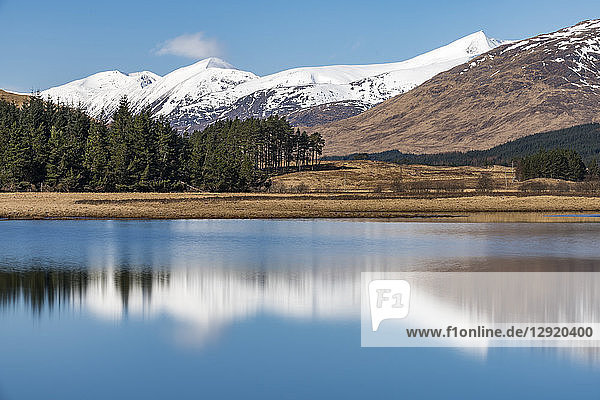 Loch Tulla on the West Highland Way between Bridge of Orchy and Inveroran in the Scottish Highlands  Scotland  United Kingdom