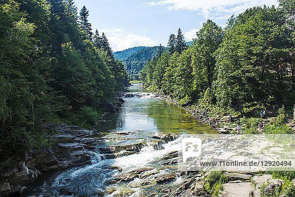 Rapids in Yaremche  Carpathian mountains  Western Ukraine  Europe