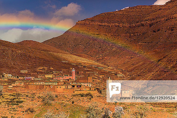 Rainbow across the Dades Gorges  Morocco  North Africa