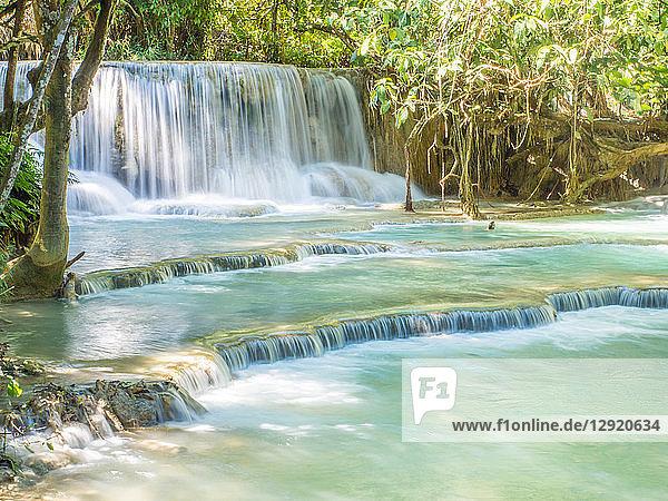 Keang Si waterfall  Luang Prabang  Laos  Indochina  Southeast Asia  Asia
