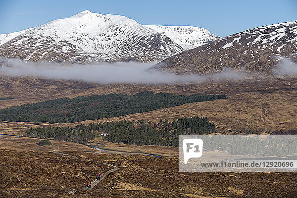 Hiking along The West Highland Way between Bridge of Orchy and Inveroran in the Scottish Highlands  Scotland  United Kingdom