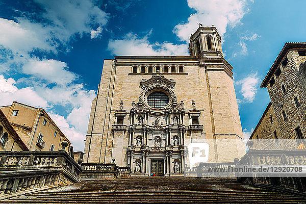 The Girona Cathedral (Cathedral of St. Mary of Girona)  a Roman Catholic church  Girona  Catalonia  Spain  Europe