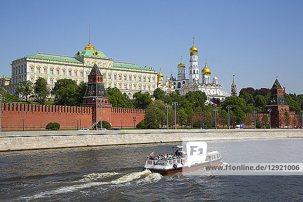 Tour Boat on Moscow River  Kremlin  UNESCO World Heritage Site  Moscow  Russia