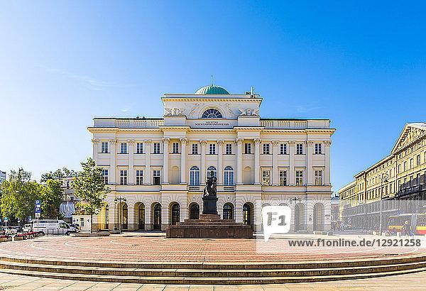 Polish Academy of Sciences and Nicolaus Copernicus statue  Warsaw  Poland