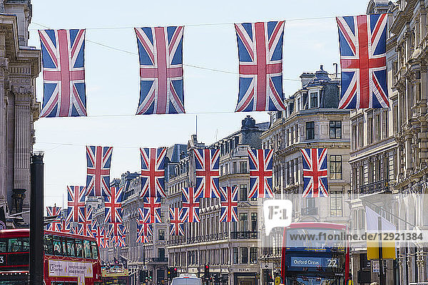 Union flags flying in Regent Street  London  W1  England  United Kingdom