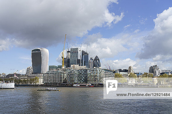 City of London financial district skyline viewed from the South bank of the River Thames  London  England  United Kingdom
