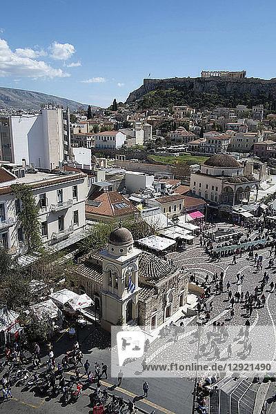 High view of the Parthenon from Monastiraki Square in the Plaka district  Athens  Greece