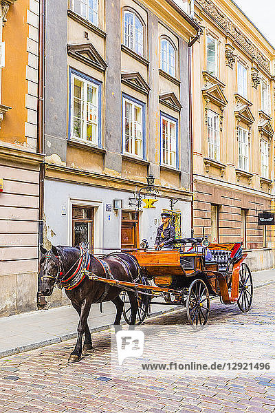Horse and carriage  Old Town  Warsaw  Poland