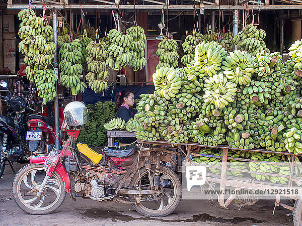 Motorbike cart carrying a heavy load of bananas  Siem Reap  Cambodia  Indochina  Southeast Asia  Asia