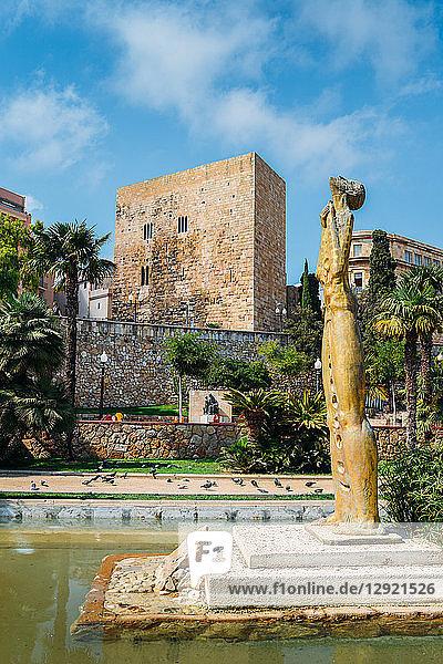 Tales de Mileto sculpture in Jardins de la Reconciliacion  Tarragona  Catalonia  Spain  Europe