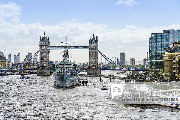 Tower Bridge with HMS Belfast in the foreground  River Thames  London  England  United Kingdom