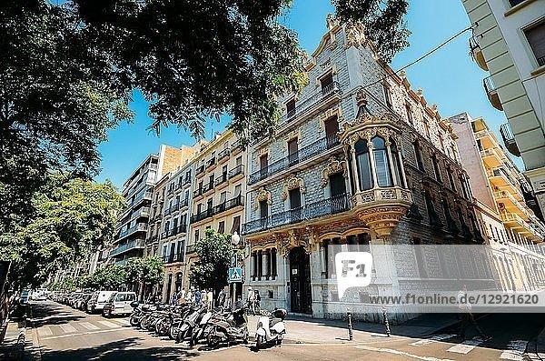 Traditional Catalan-style architecture on Rambla Nova  Tarragona  Catalonia  Spain  Europe