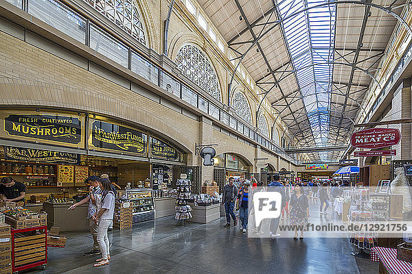 Interior of the Ferry Building Marketplace on the Embarcadero  San Francisco  California  United States of America  North America