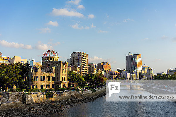 Atomic Bomb Dome (Genbaku Dome)  UNESCO World Heritage Site  and the Motoyasu River in Hiroshima  Japan  Asia