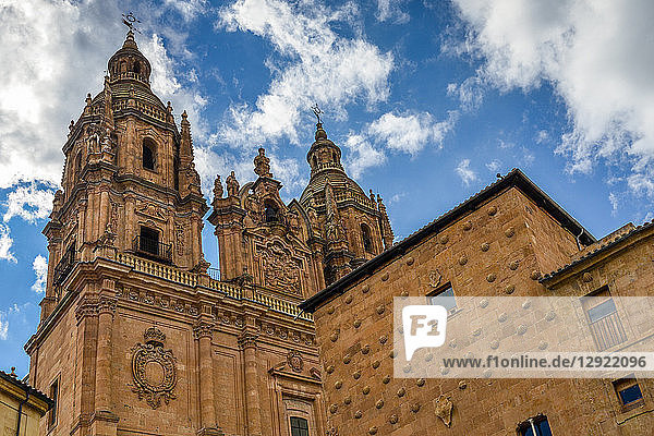 Facade to 16th-century Gothic palace covered in symbolic seashell motifs  now an exhibition space and library  Salamanca  Castilla y Leon  Spain  Europe
