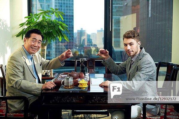 Business men in the tea houses