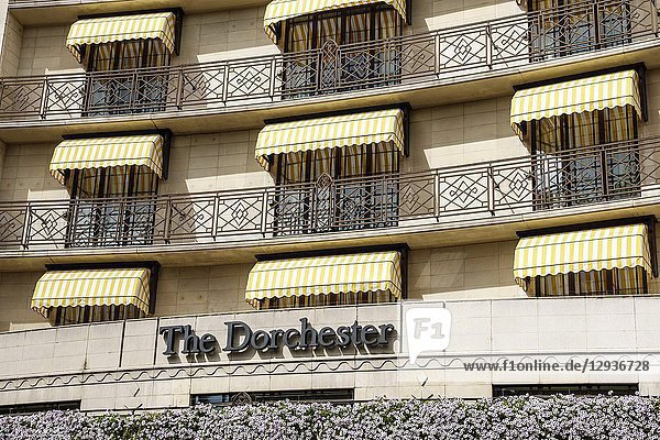 United Kingdom Great Britain England  London  West End City Westminster Mayfair  Park Lane  The Dorchester  hotel  luxury 5-star  outside  facade  balconies  awnings  sign