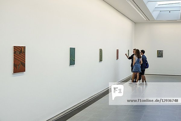 United Kingdom Great Britain England  London  Serpentine Sackler Gallery  inside interior  contemporary art exhibition  Tomma Abts  paintings  small scale  2006 Turner Prize winner  woman  man  looking