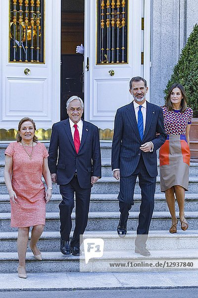 Queen Letizia  King Felipe  Sebastián Piñera and Cecilia Morel attend a lunch meeting at Zarzuela palace in Madrid  Spain on the 9th of October of 2018..09/10/2018.