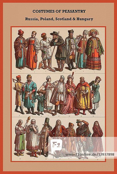 Costumes of peasantry Russia  Poland  Scotland & Hungary
