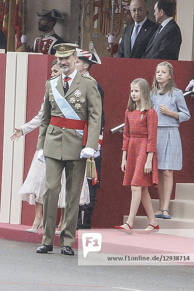 King Felipe VI of Spain  Queen Letizia of Spain  princess Leonor and Princess Sofia attend the national day parade at Lima square in Madrid  Spain on the 12 of October of 2018.12/10/2018.