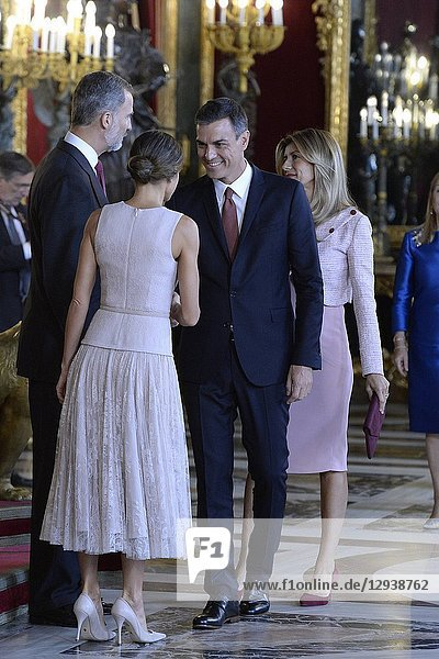 King Felipe VI of Spain  Queen Letizia of Spain  Pedro Sanchez  Prime Minister  Begona Gomez attended a Reception for The National Day at Zarzuela Palace on October 12  2018 in Madrid  Spain.