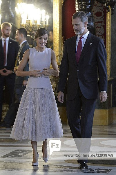Queen Letizia of Spain  King Felipe VI of Spain attended a Reception for The National Day at Zarzuela Palace on October 12  2018 in Madrid  Spain.