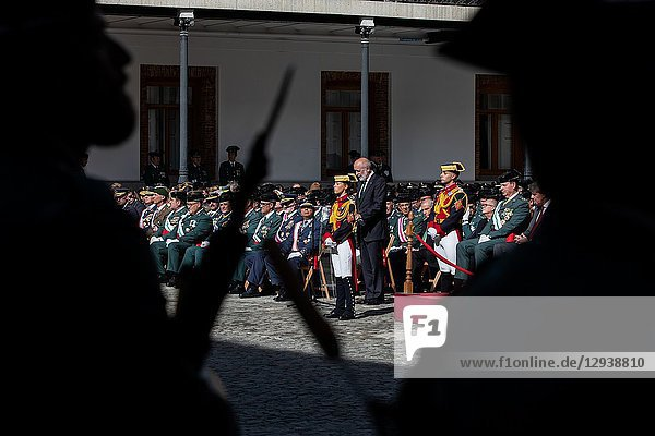 General Director of the Guardia Civil  FELIX AZON attends the acts of celebration of the patron saint of the 'Guardia Civil'  the Virgen del Pilar. During the ceremony  awards were given to personnel of the corps and a military parade and a parade took place in which personnel of different specialties of the 'Guardia Civil' participate on Oct 13  2018 in Madrid  Spain