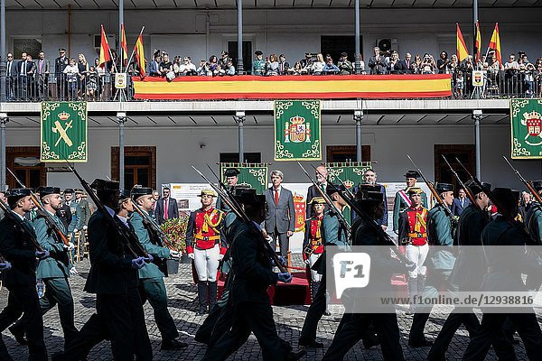 Civil and military authorities attends the acts of celebration of the patron saint of the 'Guardia Civil'  the Virgen del Pilar. During the ceremony  awards were given to personnel of the corps and a military parade and a parade took place in which personnel of different specialties of the 'Guardia Civil' participate on Oct 13  2018 in Madrid  Spain