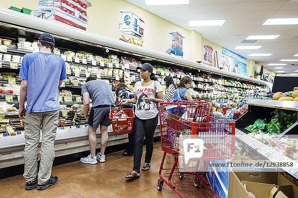Florida  Miami  Trader Joe's supermarket grocery store food  inside  shopping  display sale  man  woman  produce  cart trolley