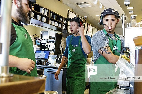 Florida  Sebring  Starbucks Coffee  cafe  inside  barista  behind counter  employee working  man  Hispanic