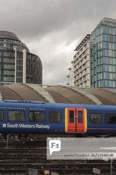 South Western Railway train at Waterloo Station London UK.
