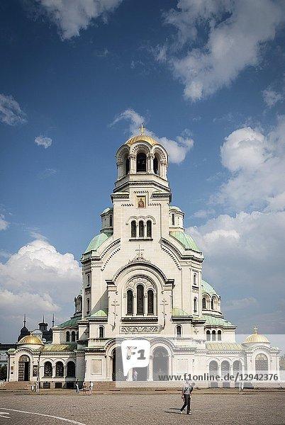 Saint Alexander Nevsky eastern orthodox Cathedral landmark in central downtown sofia bulgaria.