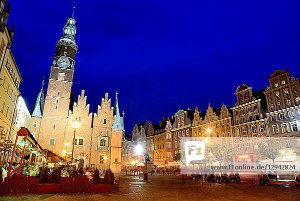 City Hall in Market square or Rynek in Wroclaw 'Breslau'  Poland.
