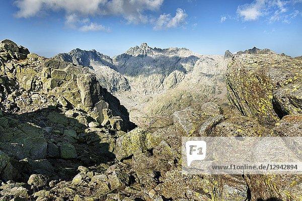 Almanzor peak from The Morezon in the Sierra de Gredos. Avila. Spain.