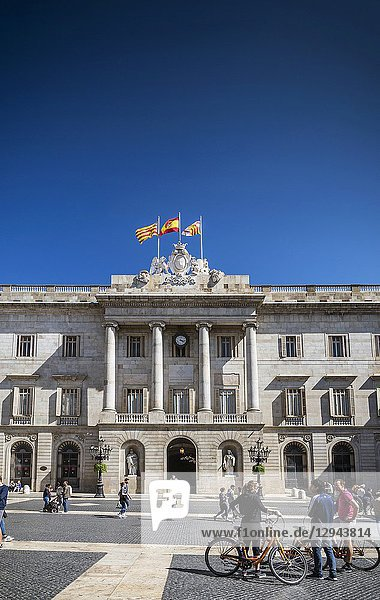 Town hall landmark building at Plaza de Sant Jaume barcelona spain.